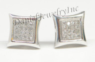 Mens Ladies Earring 10k White Gold White Diamond .13ct Pave Stud Square Custom