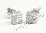 Mens Ladies Earring 10k White Gold White Diamond .40ct Pave Stud Square Custom