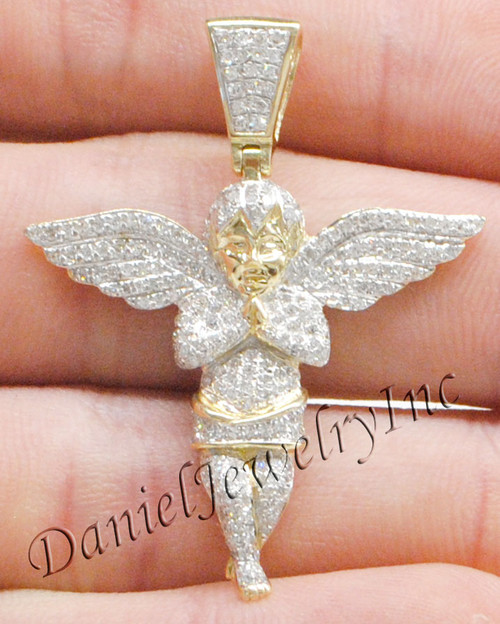 New angel ice yellow gold 1 58 white diamond 1ct 10k micro pendant image 1 aloadofball Image collections