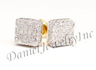 Mens Ladies Earring 10k Yellow Gold White Diamond .20ct Pave Stud Square Custom