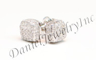 Mens Ladies Earring 10k White Gold White Diamond .55ct Pave Stud Square Custom