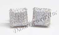 Mens Ladies Earring 10k Yellow Gold White Diamond .80ct Pave Stud Square Custom