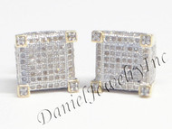 Mens Ladies Earring 10k Yellow Gold White Diamond .70ct Pave Stud Square Custom