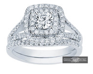 New Bridal Ladies 1.12ct Halo Diamond Wedding Ring White Gold 14k