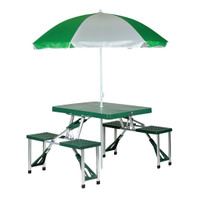 Folding Picnic Table with Umbrella and Carrying Case