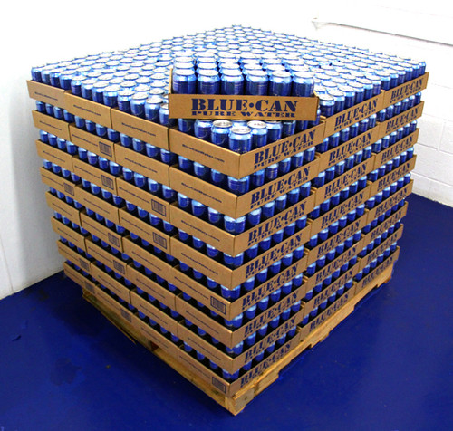 Pallet of 2400 Cans Blue Can Emergency Survival Drinking Water