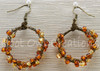 Amber and Yellow Braided Hoop Earrings