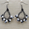 Black And White Duo Small Teardrop Earrings