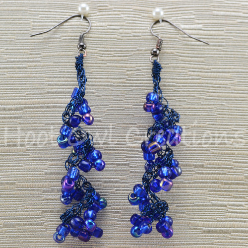 Cobalt Mix Wire Spiral Earrings
