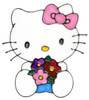 Hello Kitty With Flowers Window Cling