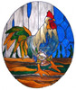Rooster Faux Stained Glass Window Film