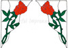 Rose Corner Window Cling Set - Red
