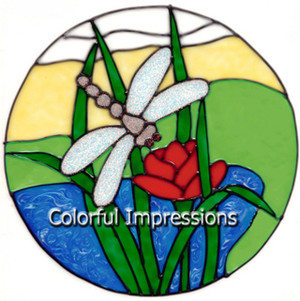 Dragonfly Scene Faux Stained Glass Window Cling