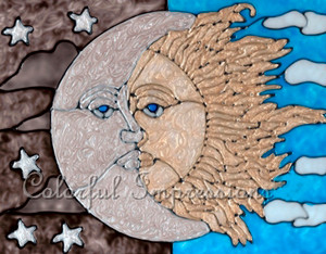 Faux Stained Glass Celestial Sun & Moon Suncatcher