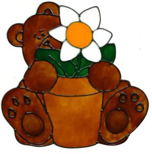 Flower Pot Teddy Bear Window Cling