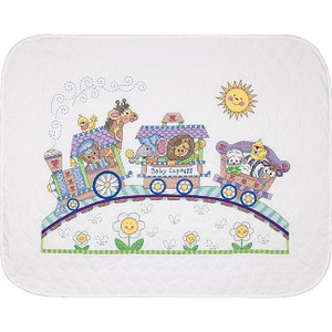 Baby Hugs Baby Express Stamped Cross Stitch Quilt Kit