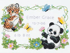 Baby Hugs Baby Animals Birth Record Stamped Cross Stitch Kit