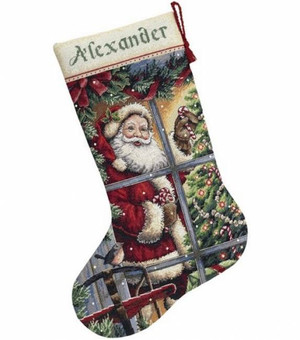 Candy Cane Santa Stocking Counted Cross Stitch Kit