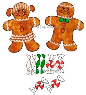 Gingerbread Candy Kids Window Cling Set