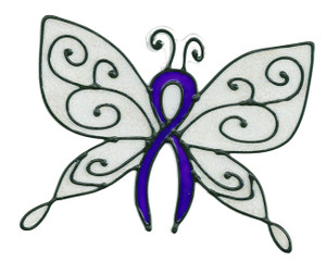 Awareness Butterfly Window Cling - Purple Ribbon