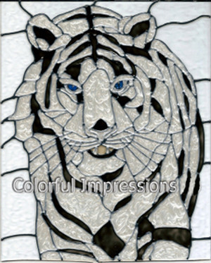 Faux Stained Glass White Tiger Suncatcher