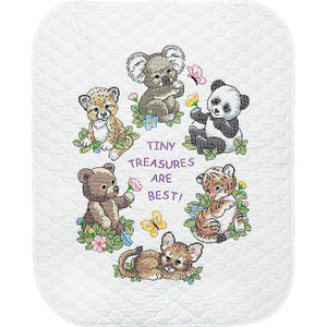 Baby Hugs Baby Animals Stamped Cross Stitch Quilt Kit