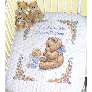 Baby Hugs Sweet Prayer Stamped Cross Stitch Quilt Kit