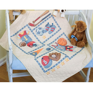 Baby Hugs Little Sports Stamped Cross Stitch Quilt Kit