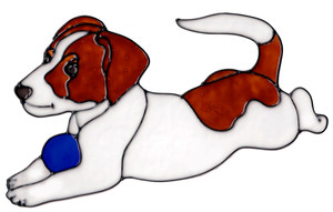 Jack Russell With Ball Window Cling
