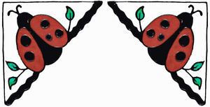 Ladybug Corner Window Cling Set