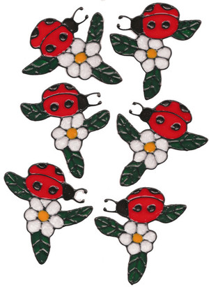 Ladybug Flower Window Cling Set