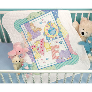 Baby Hugs Zoo Alphabet Stamped Cross Stitch Quilt Kit