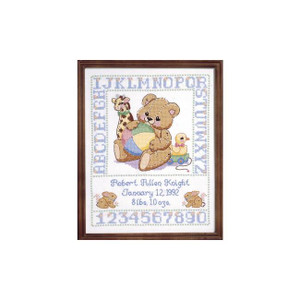 Bear Birth Sampler Stamped Cross Stitch Kit