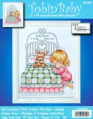 Bedtime Prayer Girl Birth Record Counted Cross Stitch Kit