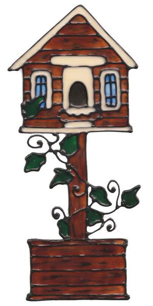 Birdhouse Planter Post Window Cling
