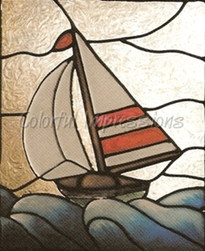 Sailboat Faux Stained Glass Window Film