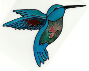 Hummingbird Blue Window Cling