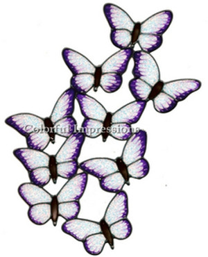 Butterflies Window Cling - Purple Glitter
