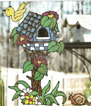 Birdhouse Topiary Faux Stained Glass Window Cling