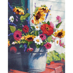 Bucket Of Flowers Gallery Crewel Kit