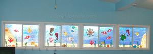 Underwater Ocean Scene Faux Stained Glass Window Film