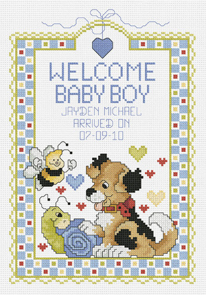 Welcome Baby Boy Counted Cross Stitch Kit