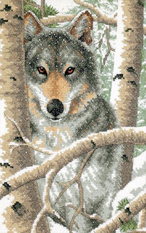 Wintry Wolf Stamped Cross Stitch Kit