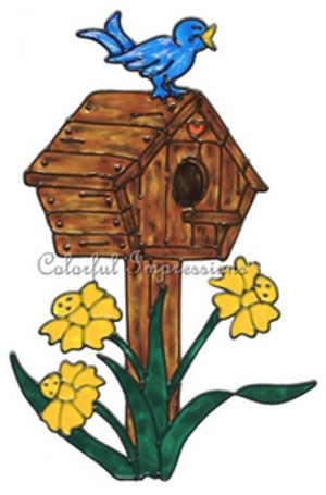 Birdhouse Faux Stained Glass Window Cling