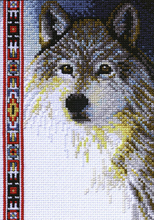 Wolf Wildlife Counted Cross Stitch Kit