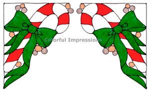 Candy Cane Corner Window Cling Set