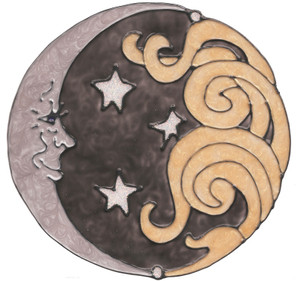Sun & Moon Window Cling - Black & Gold