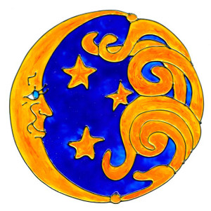 Sun & Moon Window Cling - Blue & Yellow