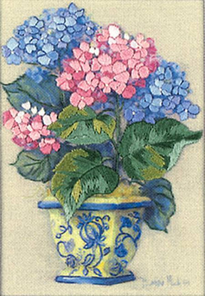 Colorful Hydrangea Crewel Kit