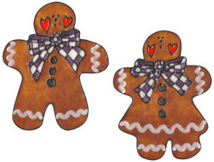 Gingerbread Couple Window Clings